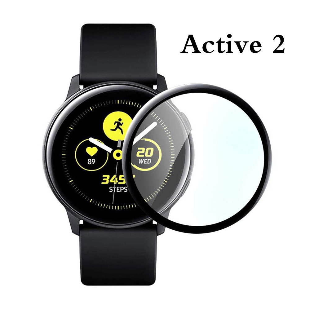 Screen Protector For Samsung Galaxy Watch Active 2 Film 40mm 44mm Tempered Glass 3D Full Screen Protective Film Soft Fibre Glass