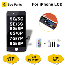 Ibeeparts 1 pçs superior lcd para iphone 7 mais lcd para iphone 8 8 plus display 3d tela de toque digitador assembléia frete grátis
