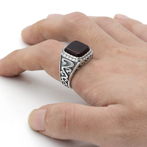 Image 5 - 925 Sterling Silver Vintage Men Ring with Square Red Natural Onyx Stone Thai Silver Carved Ring for Men Turkish Handmade Jewelry