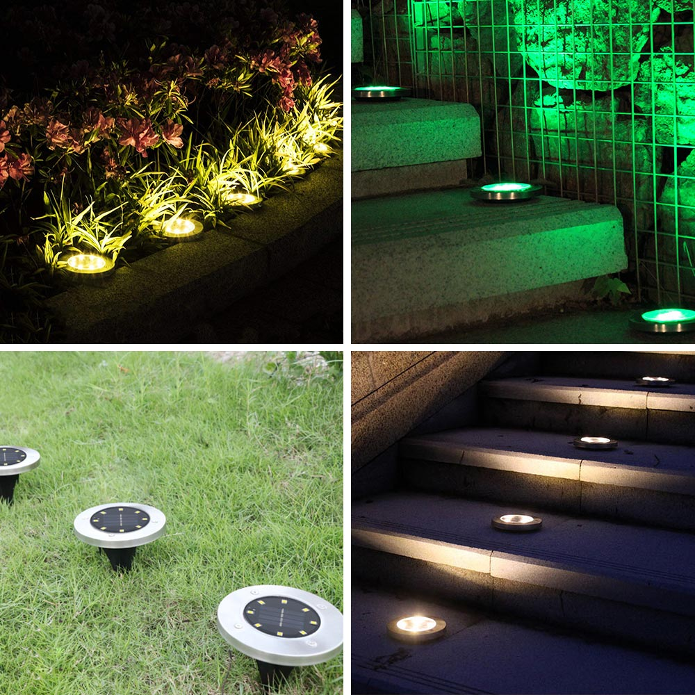 1PCS 5 LED Solar Power Outdoor Path Garden Ground Floor Buried Night Light Lamp