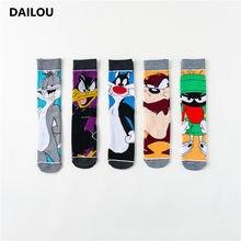 Novidade personalidade anime meias homens mulheres novidade dos desenhos animados feliz engraçado no tubo meias animal gato coelho impressão meias de algodão presentes