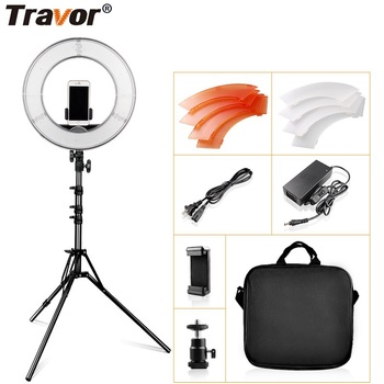 Travor ring lamp 14 Inch Ring Light With Tripod Dimmable 5500K rim of light For Photography lighting YouTube make up ring lamps travor tl 600a 2 4g kit bi color led video light 3200k 5500k for photography shooting three light 6pcs battery 3 light standing