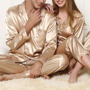 Image 1 - New Silk Sleepwear Women Sexy Couple Pajamas Spring And Summer High end Customized Silk Men Pijamas Set Lace Pyjamas