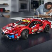 Técnica super sports racing carro ferraried 488 gte 42125 blocos de construção modelo veículo crianças brinquedos presentes aniversário adulto para o menino