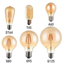 E27 220V Retro LED Edison Bulb Lamp 4W 6W 8W LED Filament Ampoule Bulbs T10 G45 ST64 G80 G95 Vintage Edison Decor Lights Warm