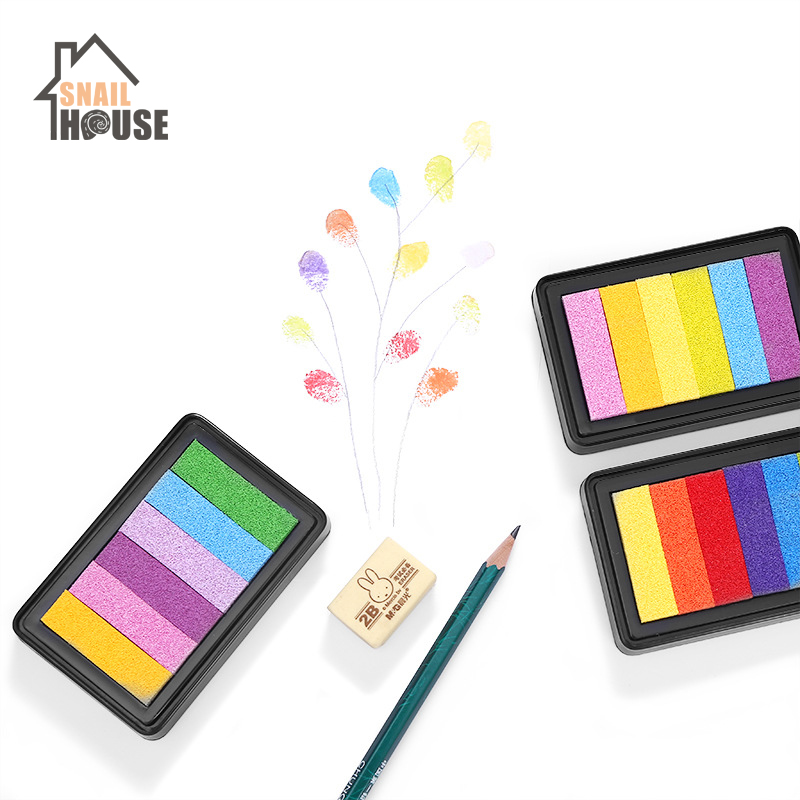 Snailhouse Safety Non-Toxic Rainbow Color Inkpad Finger Paint Color Ink Pad Children DIY Graffiti Ink Pad Rubber Stamp Kids Gift