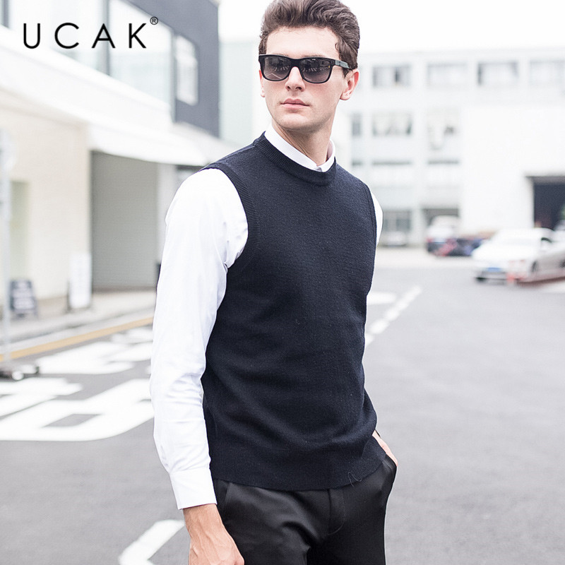 UCAK Brand New Sweater Vests Men 2019 O-Neck Casual Solid Simple Streetwear Warm Autumn Winter Pure Merino Wool Pull Homme U3108
