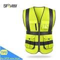 Sfvest alta visibilidade reflexiva colete de segurança trabalho colete reflexivo multi bolsos workwear colete de segurança dos homens