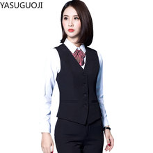 YASUGUOJI 2020 New Fashion Business Slim Fit Women Vest OL V Neck Formal Office Ladies Vest Coat Plus Size Work Wear Uniforms