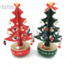 Dophee музыкальная шкатулка для рождественской елки, украшения, Рождественская деревянная музыкальная шкатулка, рождественское внутреннее украшение для детского подарка