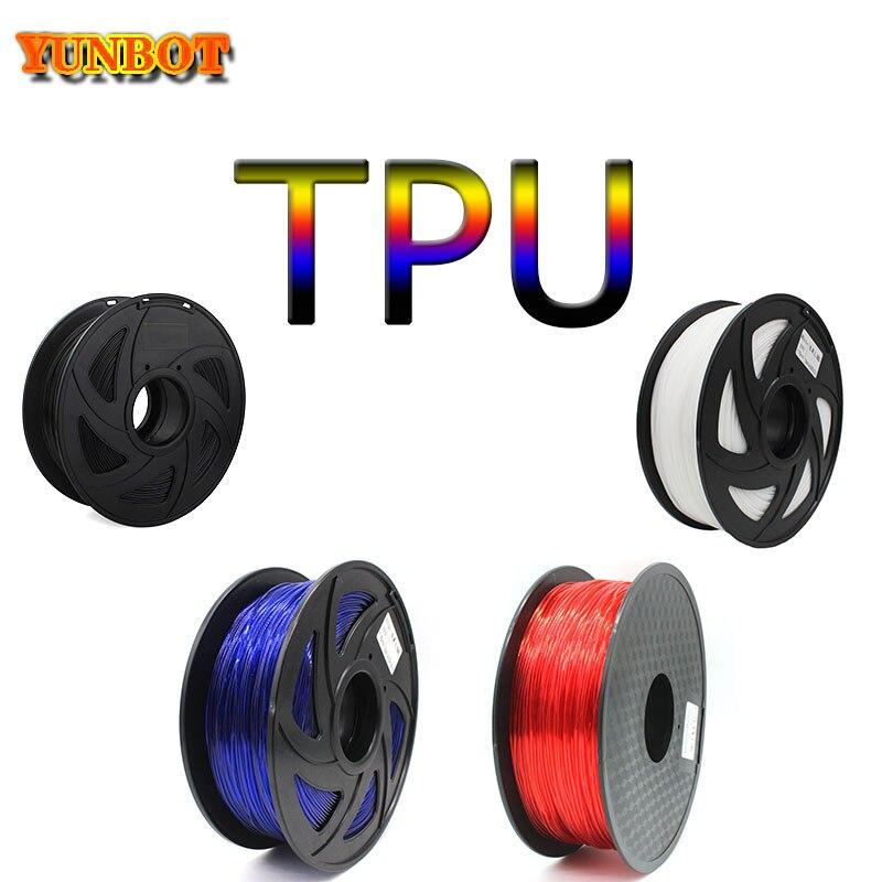 YUNBOT Flexible TPU Filament 1.75mm 3D Printer Filament Dimensional Accuracy +/-0.02mm 3D Printing Material Plastic
