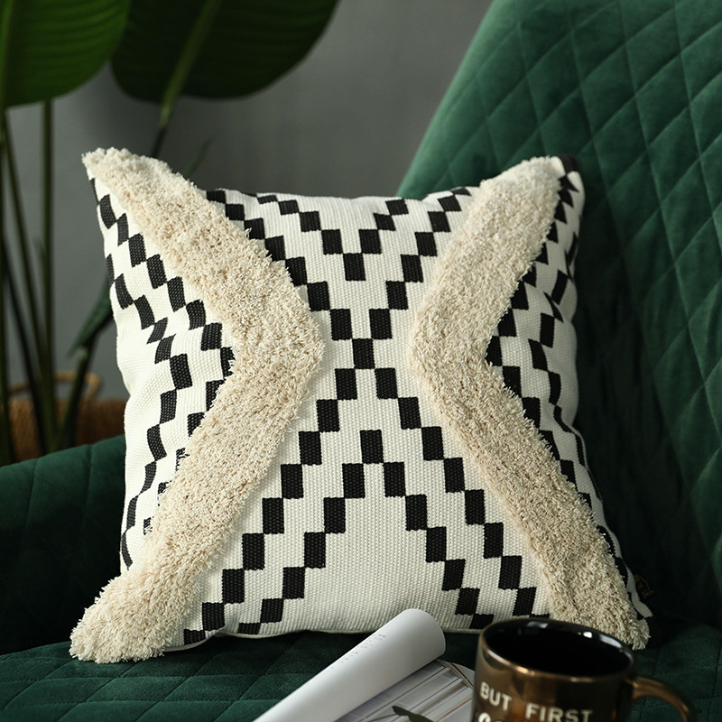 cotton woven cushion cover tufted pillow cover moroccan style handmade for home decoration sofa bed 45x45cm geometric