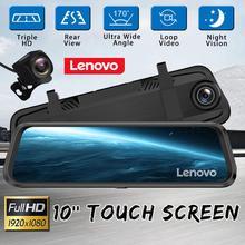 "10 ""Original Lenovo Streaming Media Car DVR espejo retrovisor con 16GB TF tarjeta Dash Cam HD IPS pantalla táctil cámara de visión nocturna"