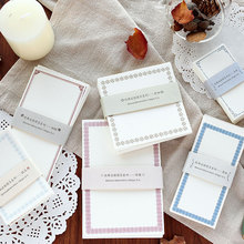 Mohamm 50 Pcs/Pack Kawaii Notepad Retro Border Memo Pad School Supplies Paper Stationary Office Decoration Accessories