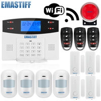 W2BW LCD Keypad WIFI GSM PSTN Home Burglar Security Wireless Wire Alarm System Motion Detector APP Control Fire Smoke Detector