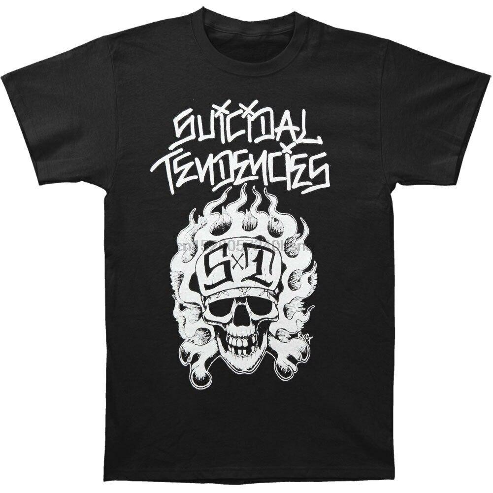 (SKATE) Suicidal Tendencies - Flip Up Skull Cross Bones T Shirt MenT-Shirts Short Sleeve O-Neck Cotton