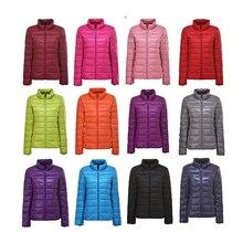 Down-Jacket Coat Outwear Parka Long-Sleeve White-Duck-Down Portable Winter Women 90%Ultra-Light