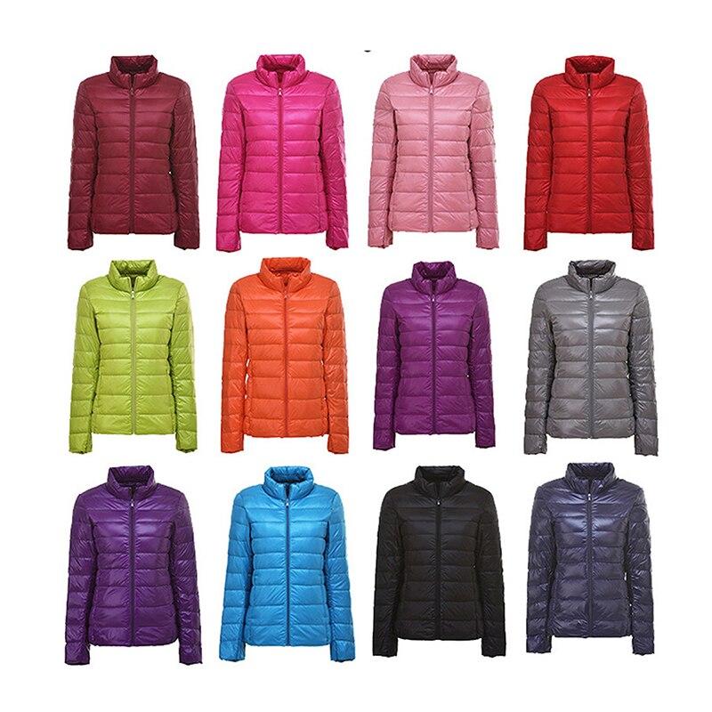 Winter Women 90% Ultra Light   Down   Jacket White Duck   Down   Hooded Jacket Long Sleeve Warm   Coat   Parka Female Solid Portable Outwear