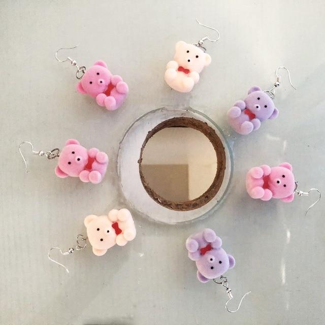 6 пар серьги капельки с изображением медведя в форме конфет