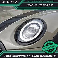 Car Styling Head Lamp case for Mini F56 Headlights 2013-2018 LED Mini F56 Headlight DRL H7 D2H Hid Option Angel Eye Bi Xenon