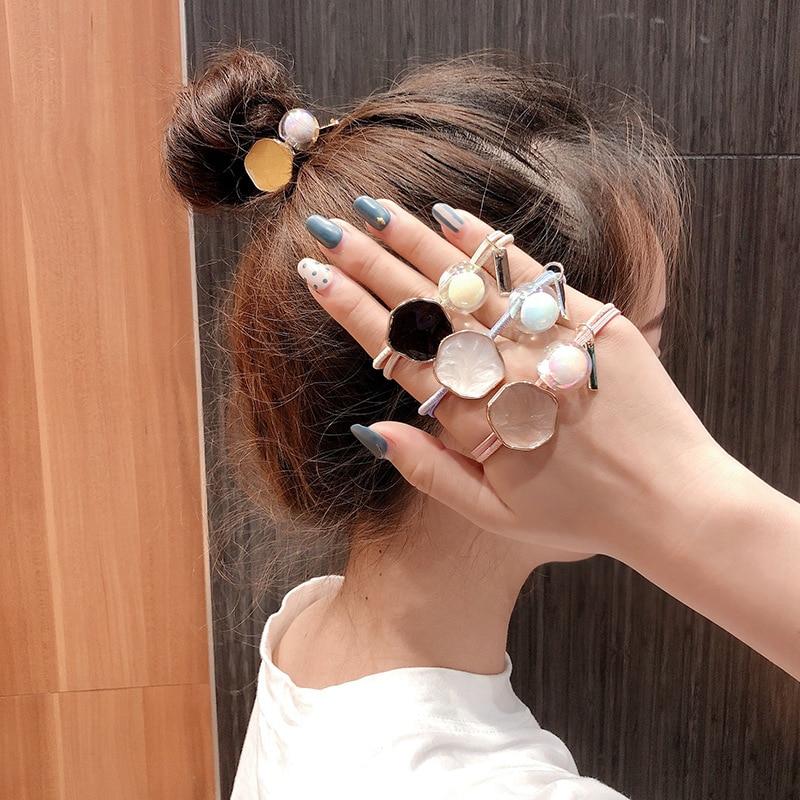 Женские резинки для волос с кристаллами, блестящие Прозрачные резинки для волос в Корейском стиле, эластичные резинки для волос, аксессуары...