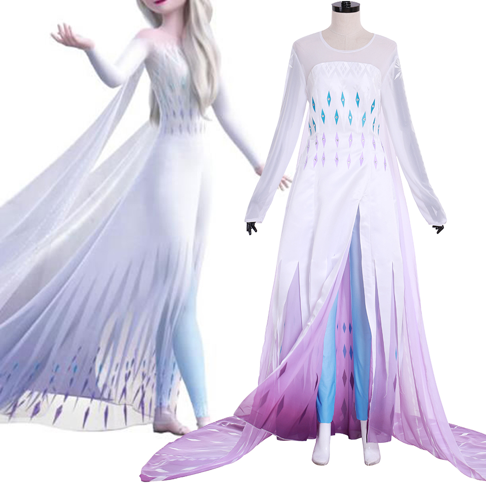Adult Elsa Snow Queen Princess Elsa Cosplay Costume Elsa White Dress Halloween Costumes For Women Long Cloak Party Dresses Set