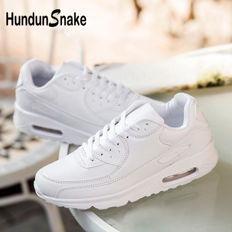 Hundunsnake Air Cushion Sports Sneakers Leather Women Running Shoe Men White Zapatillas Mujer Deportivas Athletic Krassovki G-28