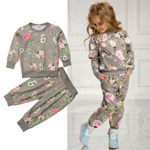 2-7Y 2PCS Kids Baby Girls Autumn Clothes Floral Long Sleeve