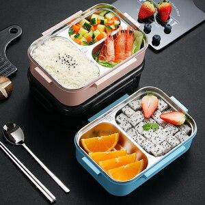 Image 2 - Worthbuy日本子供ランチボックス304ステンレス鋼弁当ランチボックスコンパートメント食器電子レンジ食品容器ボックス