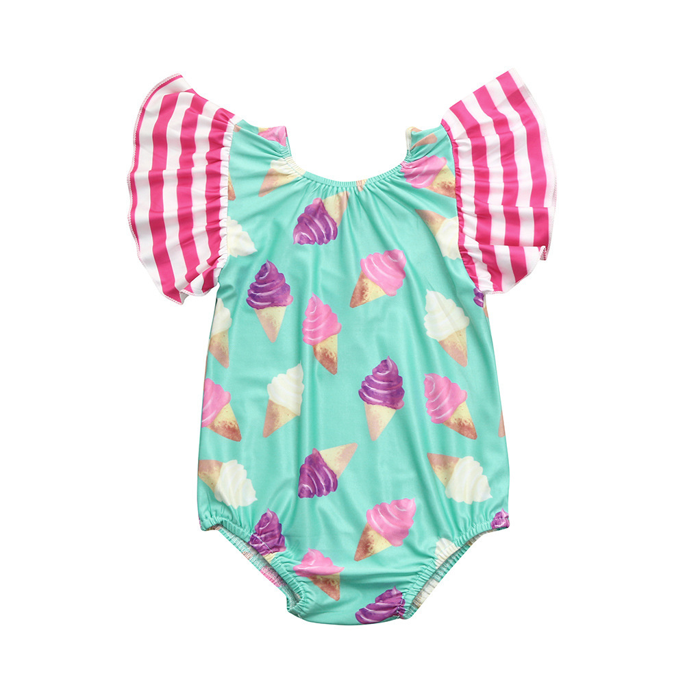 2019ins One-piece Swimsuit For Children Baby Girls Princess Ice Cream Swimwear Fly Sleeve Infants Tour Bathing Suit