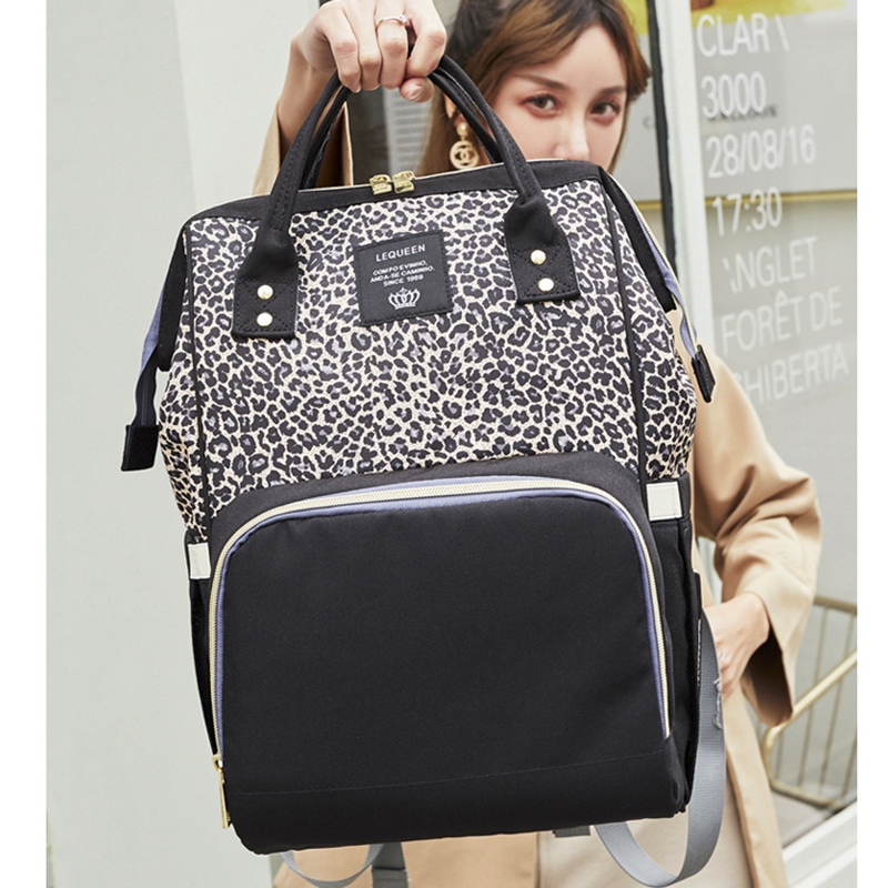 Leopard Mummy Bag Fashion Multi-function Large Capacity Mother And Baby Bag 2019 New Mother Out Backpack