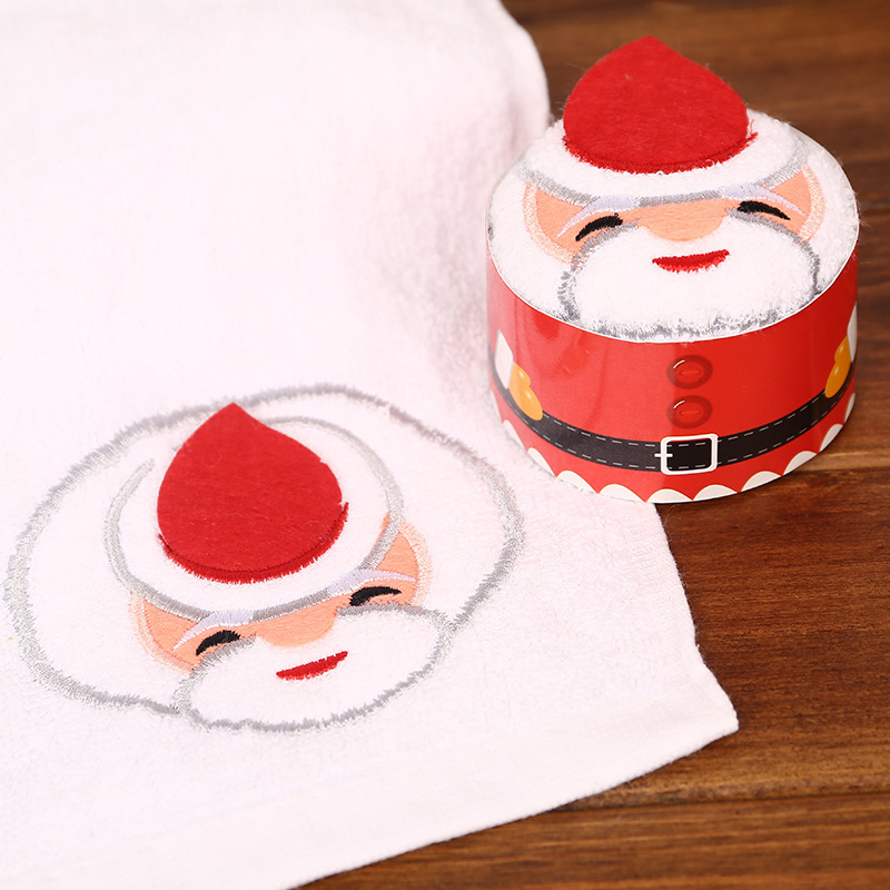 Creative Christmas Gift Box Towel Kindergarten Activity Gift Christmas Cake Towel Promotional Small Gift Santa Claus