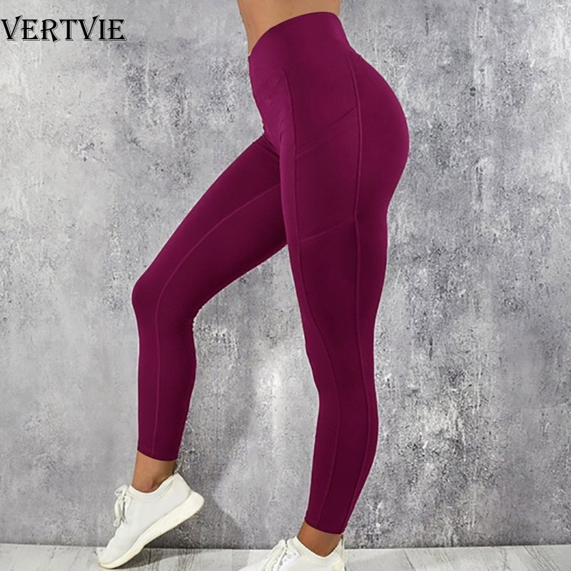 VERTVIE Solid Running Pants High Waist Fitness Yoga Pants With Pocket Tights Women Yoga Sport Trousers Training Workout Leggings