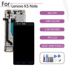 ЖК-дисплей 5,5 дюйма для Lenovo K5 Note, сенсорный экран с дигитайзером в сборе для Lenovo K5 Note, дисплей с рамкой A7020a48 K52e78 A7020a40