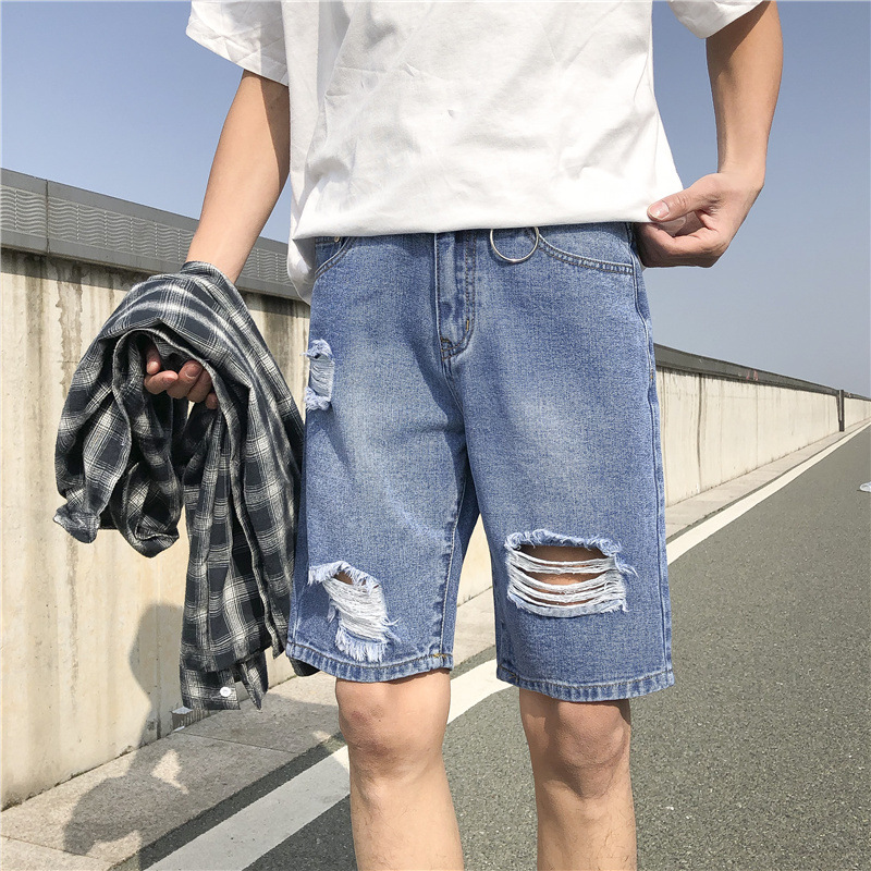 Iron Hoop K25 Men Blue With Holes Jeans Hong Kong Style Shorts Shorts Shorts Lower Apron Pants Students Tide