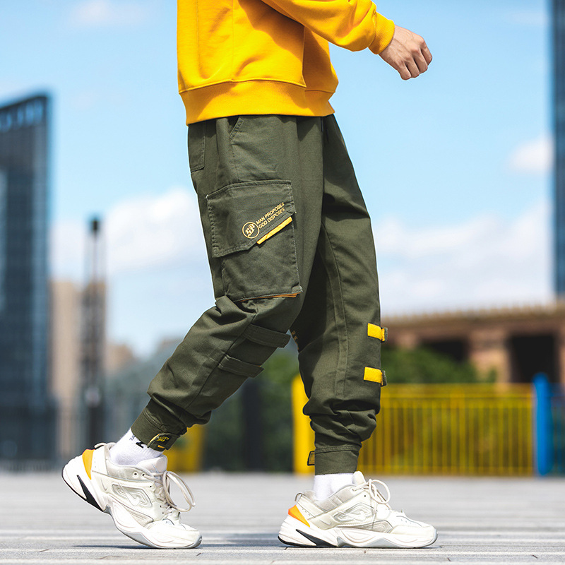 Autumn And Winter New Style Popular Brand INS Loose Bib Overall Straight-Cut Men's Cargo Beam Leg Capri Students' Pants