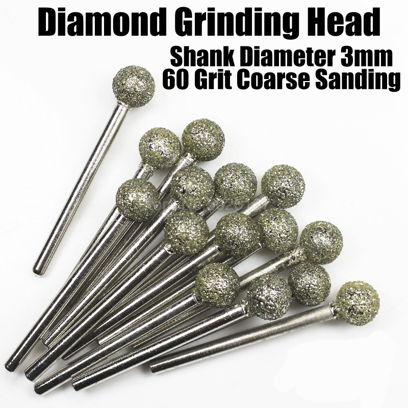 1Pcs 60 Grit Ball Diamond Nail Drill Bit Grinding Head Metal Machine Grind Needle Cutter Jade Carved Rotary Spherical Burr Tool