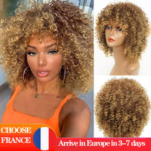 LINGHANG-Peluca de cabello sintético Afro Natural para mujeres, pelo corto rizado Afro, de alta temperatura, disponible en color negro