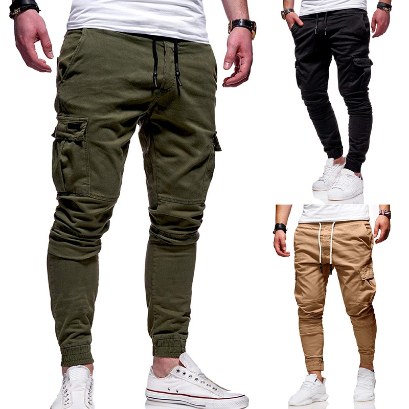 New Style Men's Tool Pants Pocket Battle Tether Pants Elastic Waist Casual Work Beam Foot Movement Jogging Pants