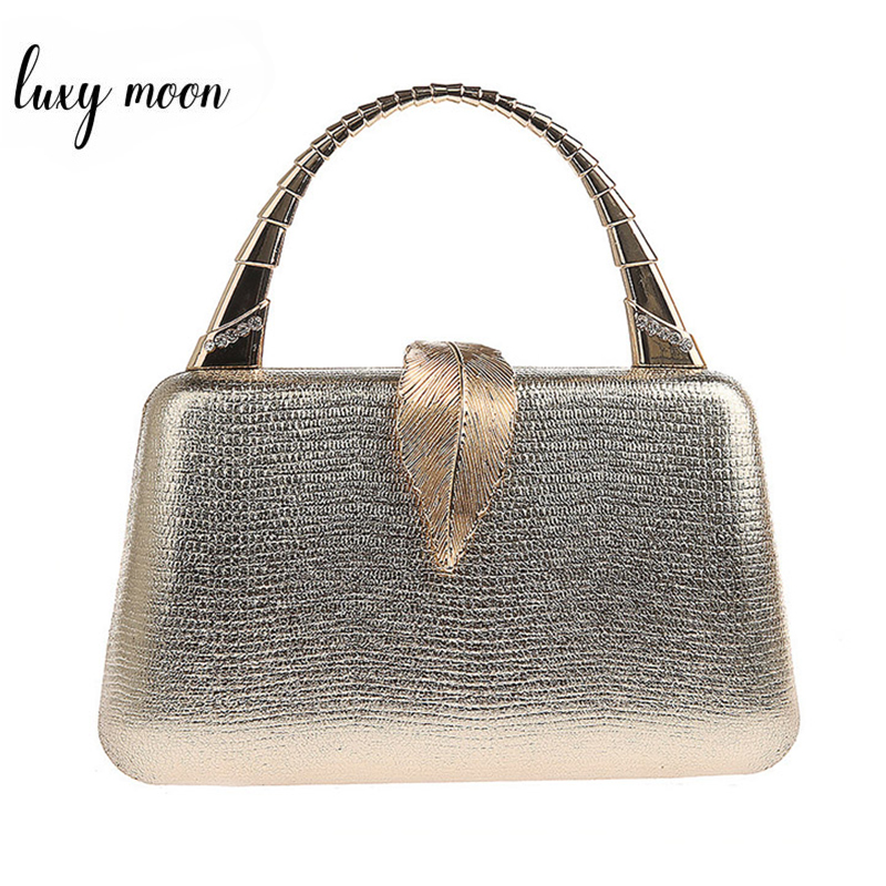 Gold Clutch Bag Women PU Leather Handbag With Handle Metal Leaf Lock Party Wedding Purse Mini Shoulder Messenger Bag ZD1347