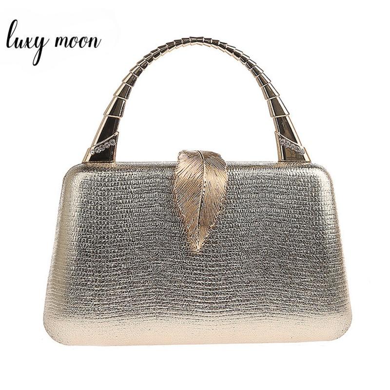 Gold Clutch Bag Women PU Leather Handbag With Handle Metal Leaf Lock Party Wedding Purse Mini Shoulder Messenger Bag ZD1347