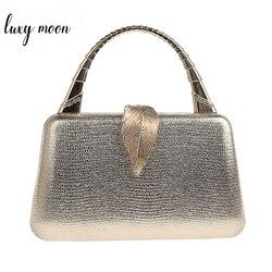 Ouro bolsa de embreagem feminina couro do plutônio bolsa com alça de metal folha bloqueio festa casamento bolsa mini ombro mensageiro saco zd1347