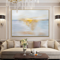 Pure Handmade Artwork Abstract White and Gold Foil Oil Painting Hand painted High Quality White and Golden Abstract Oil Painting