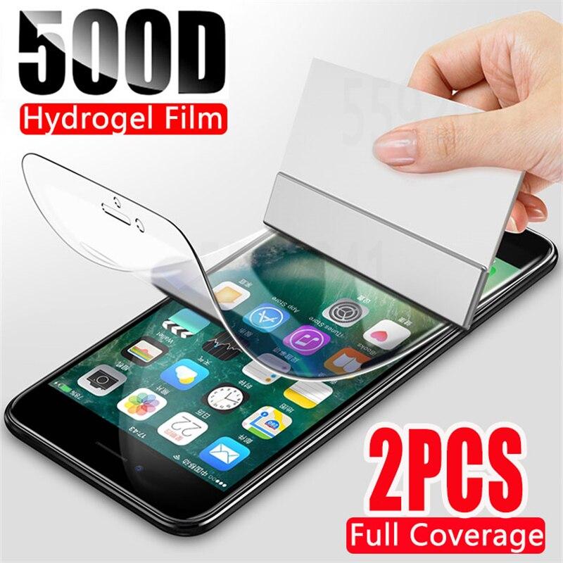 2 قطعة 500D هيدروجيل واق شاشة رقيق آيفون 7 8 Plus 6 6s زائد لينة طبقة رقيقة واقية على آيفون 11 X XR XS ماكس 11 برو ماكس