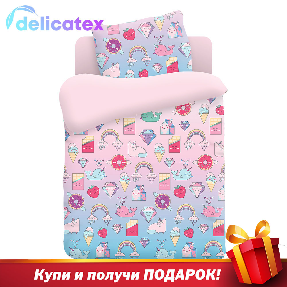 Bedding Sets Delicatex 9004-1+rozovyiy Nyashki Home Textile Bed Sheets Linen Cushion Covers Duvet Cover Рillowcase Baby Bumpers Sets For Children Cotton