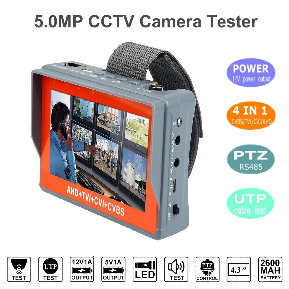 IV7W 4.3 Inch Four In One HD CCTV Tester Monitor AHD CVI TVI CVBS Analog Cameras Testing3MP 1080P 960P 720P PTZ Audio 12V