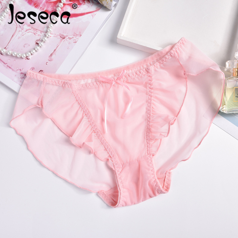 Jeseca New <font><b>Sexy</b></font> Mesh Female Brief Transparent Pink Underwear Middle-Rise <font><b>Panties</b></font> Hollow Out Easy-Dry&<font><b>Breathable</b></font> Seamless Short image