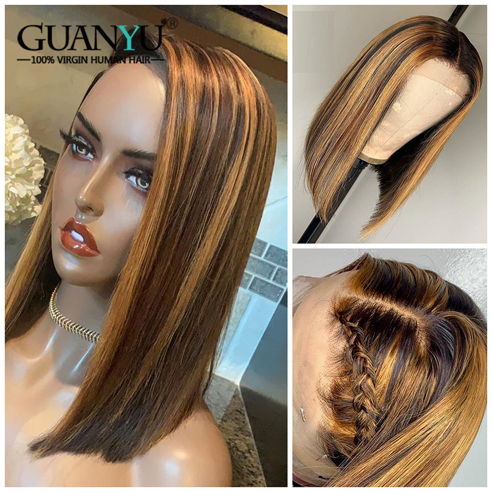 Ombre Blonde Highlighted Lace Front Human Hair Wigs 150% Density 13X4 Pre Plucked Brazilian Remy Short Bob Wig For Black Women