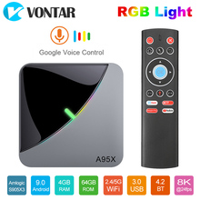 2020 VONTAR A95X F3 אוויר 8K RGB אור טלוויזיה תיבת אנדרואיד 9 Amlogic S905X3 4GB 64GB Wifi 4K החכם TVBOX אנדרואיד 9 A95XF3 סט top box