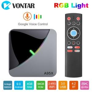 Image 1 - 2020 VONTAR A95X F3 Không Khí 8K Đèn RGB Tivi Box Android 9 Amlogic S905X3 4GB 64GB Wifi 4K Smart TVBOX Android 9 A95XF3 Set Top Box